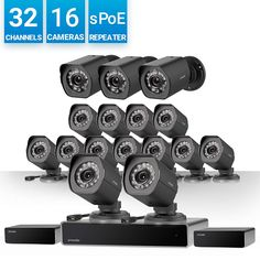 Zmodo 32 Channel 1080p HDMI NVR Surveillance System 16x720p Weatherproof sPoE Security Camera, w/Repeater for Flexible Installation, 24/7 Recording & Remote...