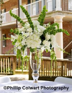 Tall green and white tall centerpiece