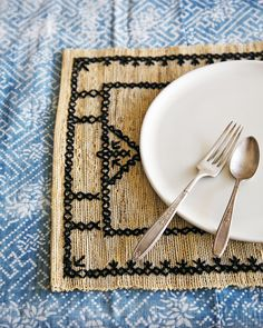 DIY embroidered placemats