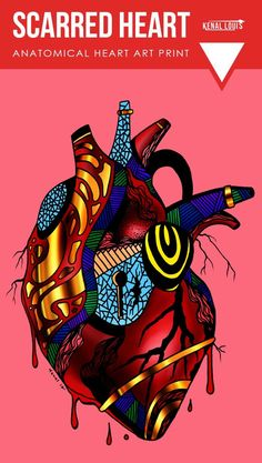 Scarred Heart Art Print: A unique anatomical heart art print collection for modern contemporary homes. Buy any of these beautiful human heart artworks. Worldwide shipping available. Just one of many creative art pieces by Kenal Louis. Scarred Hearts, Wal Art, Heart Artwork, Gold Wall Art, Coffee Heart, Heart Illustration, Anatomical Heart, Home Decor Wall Art, Art Decor