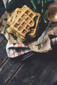 Spicy Kale and Romano Ricotta Waffles with Cayenne-Honey