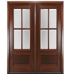 MAI Doors DD4L-2 Delta True Divided Lite, 4-Lite Panel Bottom Mahogany Exterior Double Door