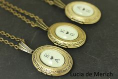 Initial locket necklace Personalized gift two by luciademerich
