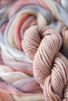 befor and after - yarn and roving, pretty and soft.