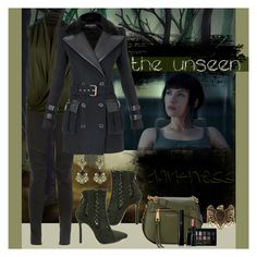 """The unseen darkness"" by julyralewis ❤ liked on Polyvore featuring Balmain, A. Friend by A.F. Vandevorst, WithChic, Marc Jacobs, Accessorize, Steve Madden, Maybelline and Giorgio Armani"