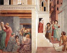 1452.Benozzo Gozzoli.Scenes from the Life of St Francis (Scene 1,north wall), fresco,304x220 cm,Apsidal chapel,San Francesco,Montefalco.