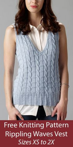 Free Vest Knitting Pattern Rippling Waves Vest - Pullover v-neck vest with cables and texture. Sizes XS - 2XL. DK weight yarn. Designed by Therese Chynoweth. Knitting Patterns Free, Free Knitting, Free Pattern, Crochet Cardigan Pattern, Pullover, Vests, Waves, Texture, Ideas