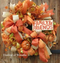 Fall Deco Mesh Wreath  Fall Front Door Wreath by FestivalofWreaths