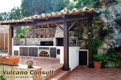 Cucine da esterno in muratura - Cucina esterna con forno a legna ...