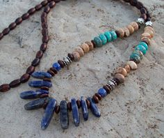 Long Boho Necklace of Sodalite, Picture Jasper, Imperial Jasper and Dyed Wood - Tribal Boho Necklace - Hippie Bohemian on Etsy, $29.00