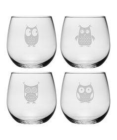 Owl Assortment Stemless Wine Glass Set