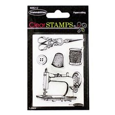"Use this Small Clear Sewing Stamp Set to add fun designs to your scrapbook, handmade card, or other paper craft! These stamps feature everything a sewing genius needs - a sewing machine, a button, a needle & thread, a thimble, and ornate scissors. Just peel, stick, stamp, and smile!    	Each package contains 5 stamps.    	Designed for use with a stamping block (sold separately).    	Dimensions:    	  		Overall Length: 3 1/2""  	  		Overall Width: 2 1/2"""