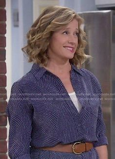 Vanessa's navy blue dotted print shirtdress on Last Man Standing.  Outfit Details: http://wornontv.net/52593/ #LastManStanding