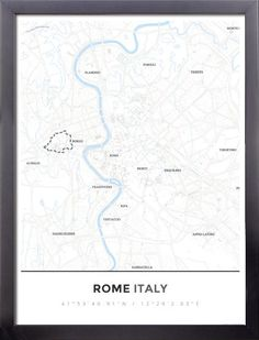 Framed Map Poster of Rome Italy - Simple Ski Map