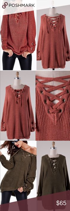 ALIA solid sweater tunic top - MARSALA Long sleeve solid sweater tunic with criss cross self-tying strap. Slouchy, oversized.    55% Cotton 45% Acrylic   AVAILABLE IN OLIVE, DEEP BEIGE & MARSALA   NO TRADE PRICE FIRM Bellanblue Sweaters
