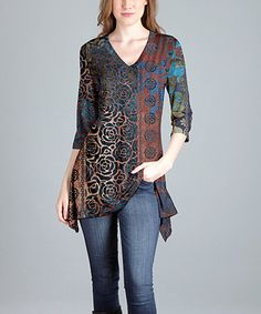 Another great find on #zulily! Brown & Black Floral-Accent V-Neck Tunic - Plus Too #zulilyfinds