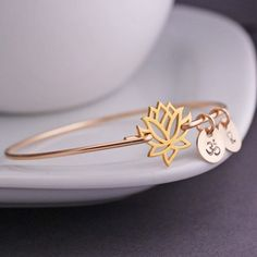 Gold Lotus Bangle Bracelet, Yoga Jewelry from georgie designs personalized jewelry