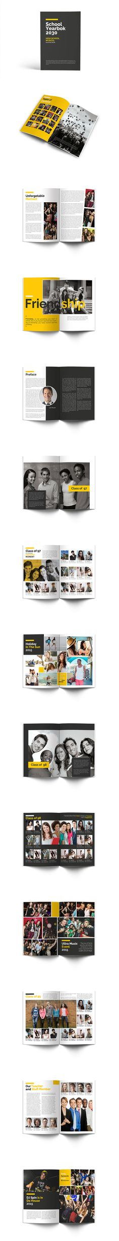 School Year Book Template InDesign INDD - 40 Pages