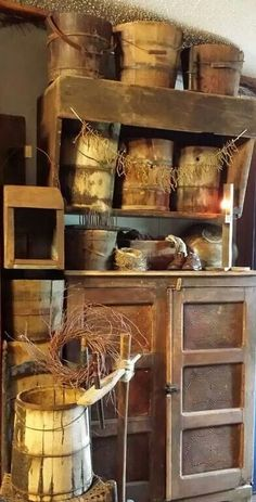 Rustic cupboard, wooden buckets
