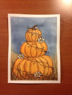 "Pumpkins and daisies. Watercolor. 4 1/2"" x 6"""