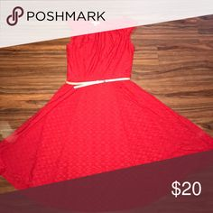 Beautiful fit and flare belted eyelet 👗 size 4 London style collection red belted fit and flare style dress with eyelet design.  You will be the lady in red while wearing this dress.  It is a size 4 london style collection Dresses Midi