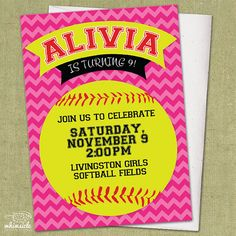Chevron Softball Invitation - DIY Printable - Birthday Party Invite   softball pink chevron sports neon yellow birthday party invitation invite theme