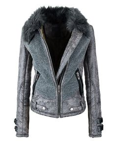 Splicing Leather Coat with Faux Fur Collar