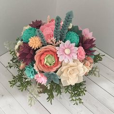 Felt flower arrangement felt flowers felt succulents felt