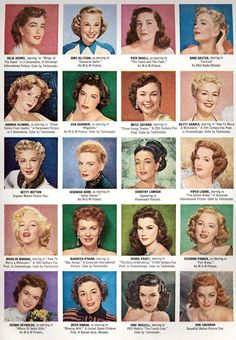 Glamorous Looks for Evening Hair in the 1940s and 1950s.