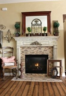 White Painted Wood Fireplace Mantel Love Fireplace Wood Mantel - French country magazine
