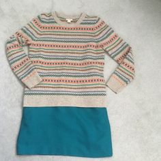 J. CREW Wool Sweater Beautiful wool sweater. Excellent used condition. Green, blue, orange stripes on tan background. J. Crew Sweaters