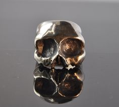 Oxidised Finish Chunky Half Skull Silver Ring by Thenineofhearts on Etsy