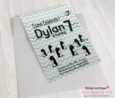 Penguins Chevron Dylan 7th Birthday Printable by HarperandHope