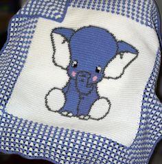 Crochet Pattern | Baby Blanket / Afghan - Blue Elephant