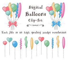 Balloons clip art, Balloons clipart, bunches of balloons, Party Balloon, Birthday Balloon Clip Art, Personal and Commercial use by PassionPNGcreation on Etsy https://www.etsy.com/listing/202529895/balloons-clip-art-balloons-clipart