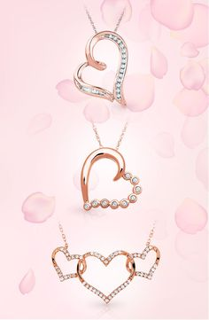 60a7392f9e33 These gorgeous heart and diamond accent necklaces bloom in rose gold. Dyi  Necklace