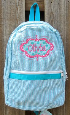 22ff1e6037 Personalized Seersucker Backpack by ChicADeeEmbroidery on Etsy