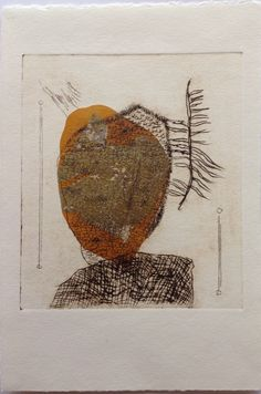 Untitled (in yr face): Drypoint etching on Stonehenge paper with Chine Colle. Image size 16cm x 19cm.  SOLD