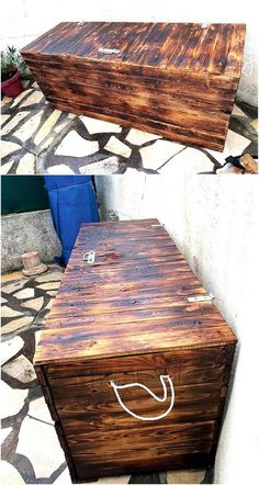 Creating a wooden pallet trunk is not a bad idea if someone wants a storage place because of owning a small house, the truck doesn't look bad and it can be painted with any color to suit the surroundings. The pallets can be used without painting them because the original color of pallets is nice.