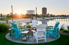 This is the spot you'll want to soak up every last minute of sunshine. Red Fish Blue Fish, Outdoor Dining, Outdoor Decor, Daylight Savings Time, Backyard, Patio, White Sand Beach, The Good Place, Outdoor Furniture Sets