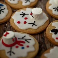 Melting snowman cookies with marshmallow heads. So fun.