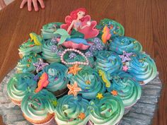 For my princess Mermaid Cupcake Cake, Little Mermaid Cupcakes, Mermaid Birthday Cakes, Little Mermaid Birthday, Little Mermaid Parties, Mermaid Cakes, Cupcake Cakes, Birthday Party Games For Kids, 4th Birthday