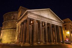 Pantheon, Rome, Italy, Ancient, Roman Architecture, Stars, Night, Dome, Oculus, Columns, Lazio - Travel Photography, Print, Wall Art