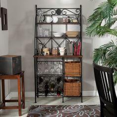 Belham Living Solano Bakers Rack with Baskets, Grey