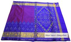 Ikat patola silk saree in double shaded magenta & voilet with skirt border. Code: ISB7015 Write to ikkatsareesbangalore@gmail.com or inbox the message. Contact : +918792177606 www.facebook.com/ikkatsareesbangalore