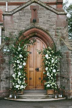 A Floral Fairytale Marquee Jenny Andrew's Wedding at the Royal North of Ireland Yacht Club OneFabDaycom UK - 18 wedding Church entrance ideas Church Wedding Flowers, Wedding Scene, Wedding Ceremony, Table Wedding, Party Wedding, Wedding Bride, Church Weddings, Wedding Ideas, Wedding In A Church