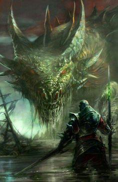 Facing each other - Beautiful fantasy illustration by Brolken on deviantART Sci Fi Fantasy, Fantasy World, Dragon Medieval, Cool Dragons, Dragon Artwork, Dragon's Lair, Mythological Creatures, Magical Creatures, Fantasy Artwork