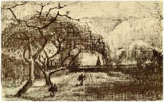 Parsonage with Flowering Trees by Vincent van Gogh  Letter Sketches,   Nuenen: April, 1884