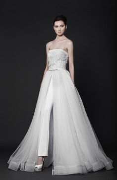 2016 Wedding Dresses Pant Suit From Tony Ward Strapless Neckline Ruffled Lace Burst And Tulle Overskirt A Line Bridal Gowns Long Sleeve Wedding Dress Muslim Wedding Dresses From Gonewithwind, $209.43  Dhgate.Com