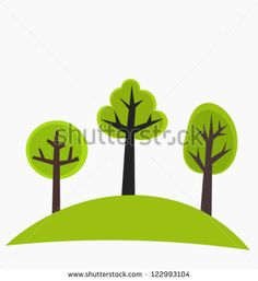 Trees on the hill - green vector illustration - stock vector
